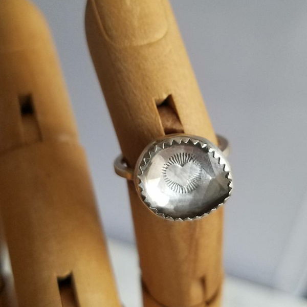 Hidden Signs Talisman Ring - Faceted Clear Quartz& Sterling Silver - Verdilune
