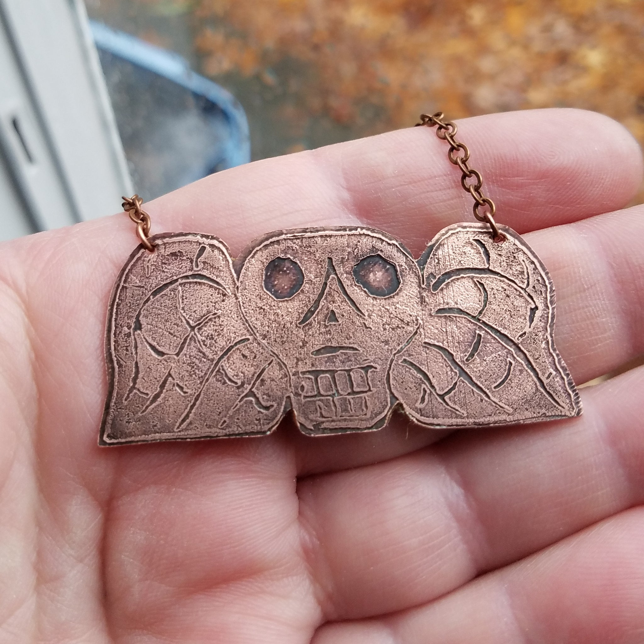 Memento Mori Colonial Winged Soul Pendant in Copper - Verdilune