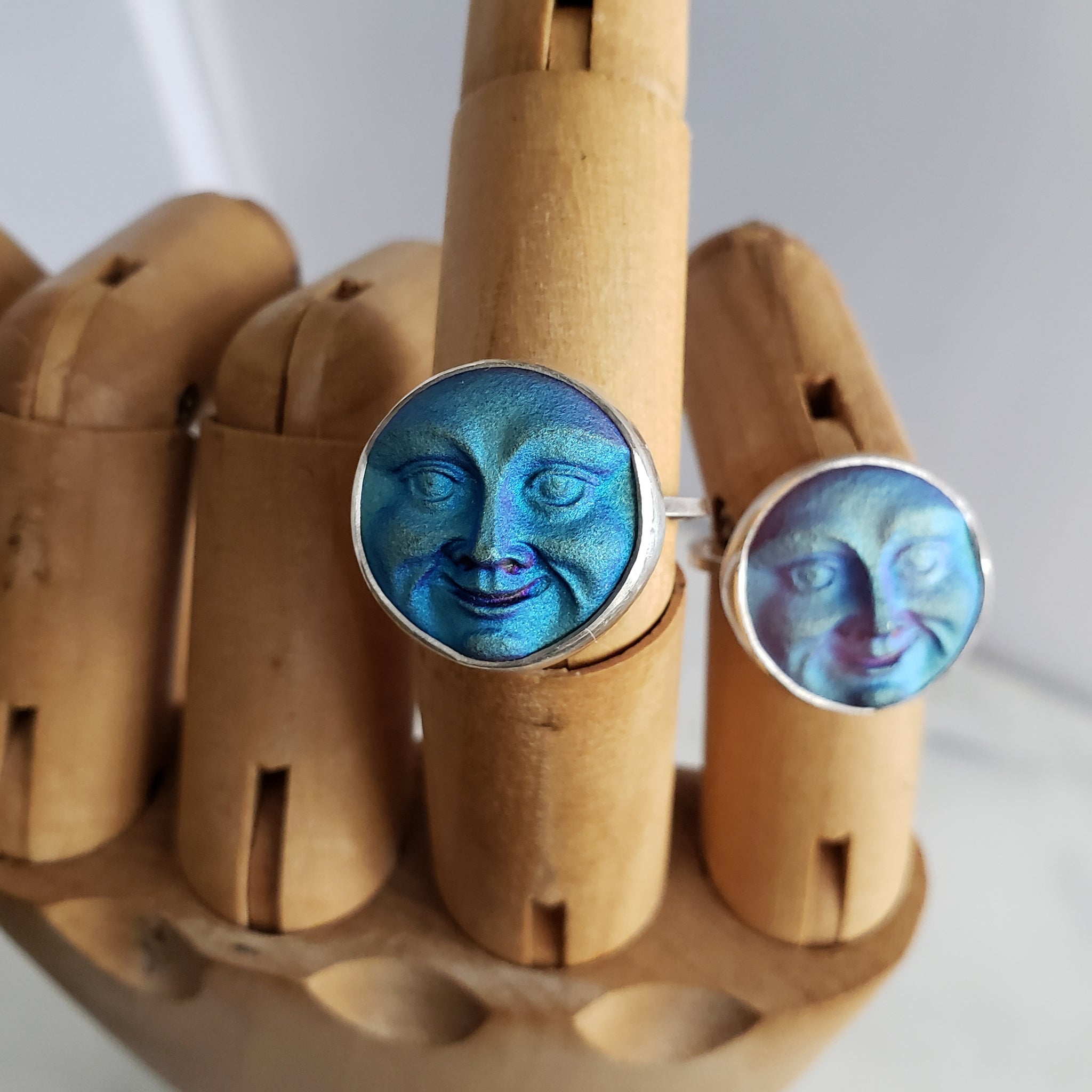 Mystical Moon Face Ring - Choose your Size - Verdilune