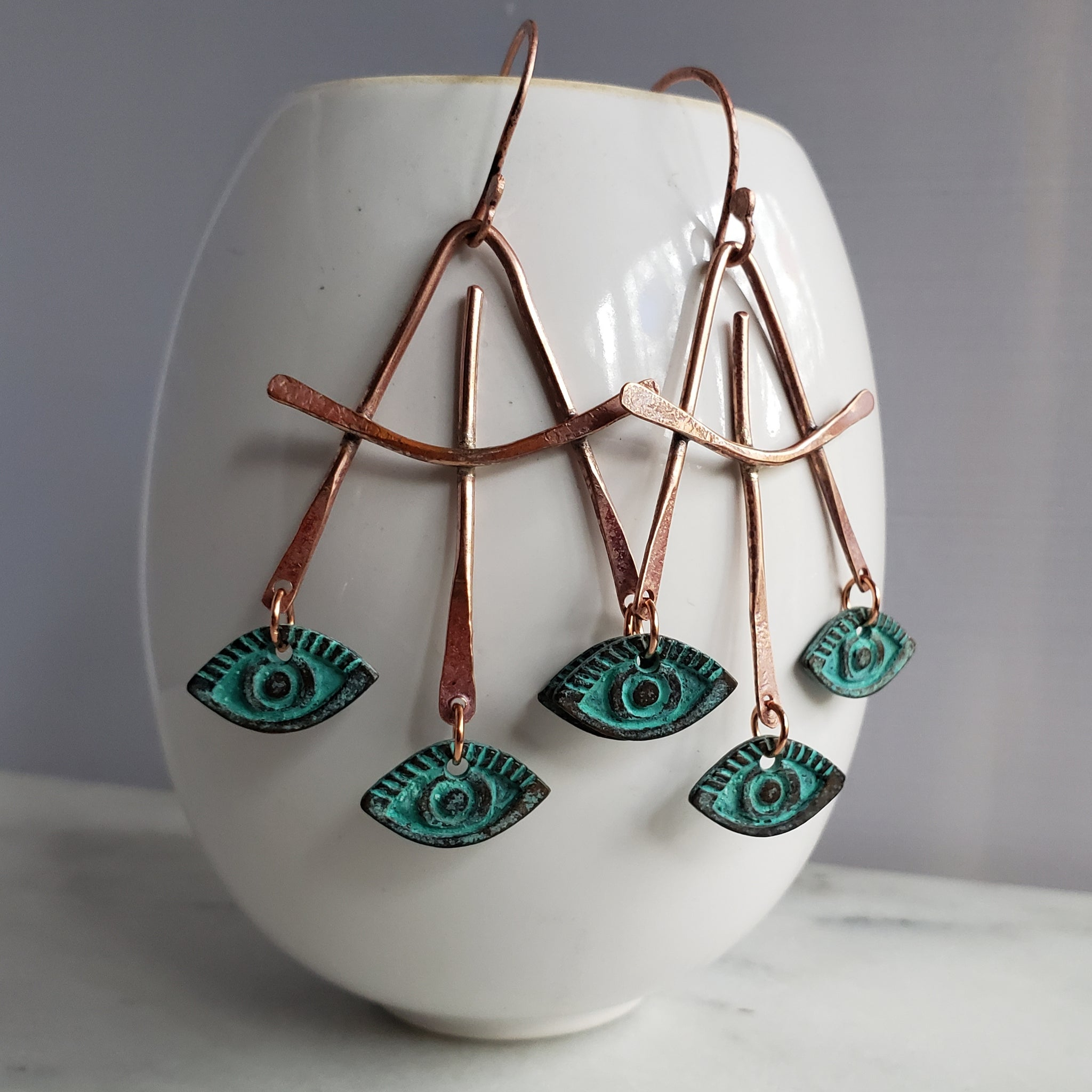 Three Third Eyes Copper Earrings - Verdilune