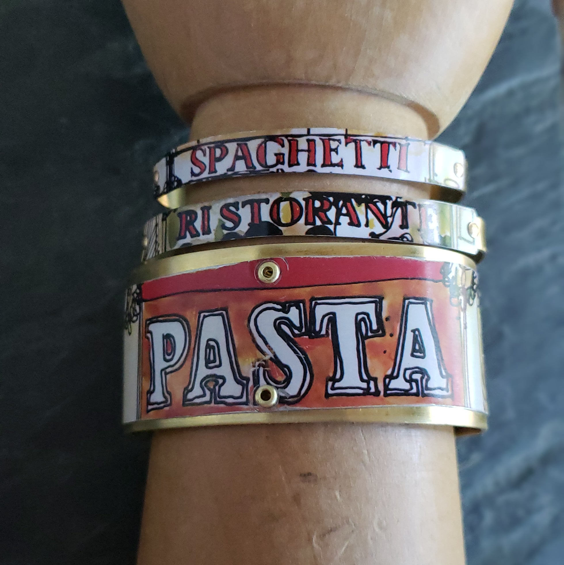 Italian Ristorante Repurposed Tin Cuff Bracelet