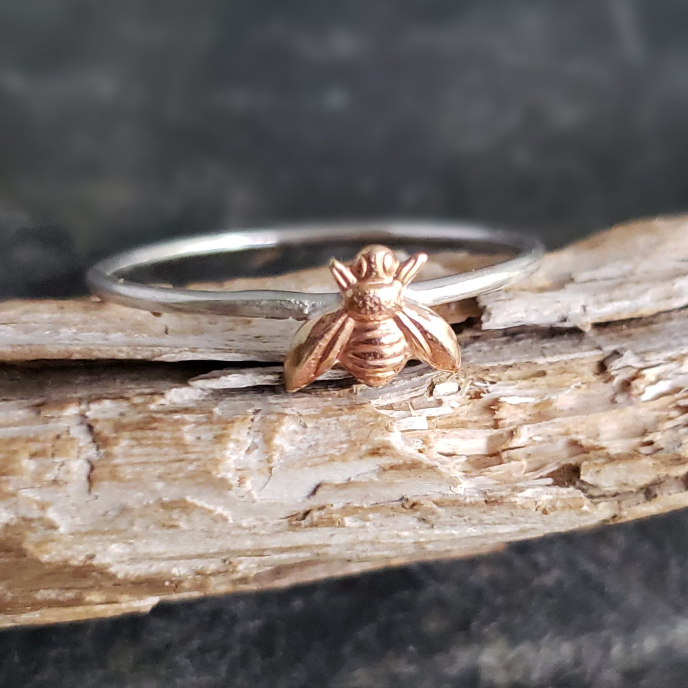 Sterling Stacking Ring with Brass Honey Bee