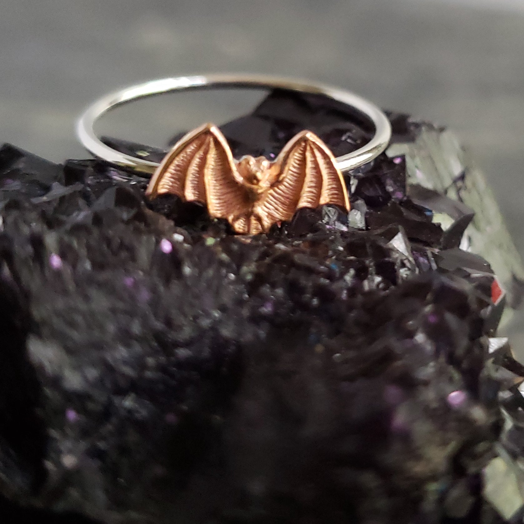 Sterling Stacking Ring with Copper Bat - Verdilune