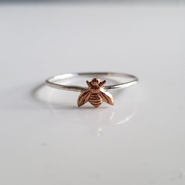 Sterling Stacking Ring with Brass Honey Bee - Verdilune