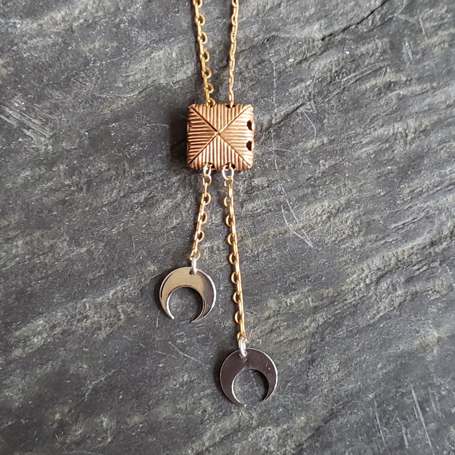 Vintage Folded Brass Rolo Pendant with Silver Crescent Moons - Verdilune