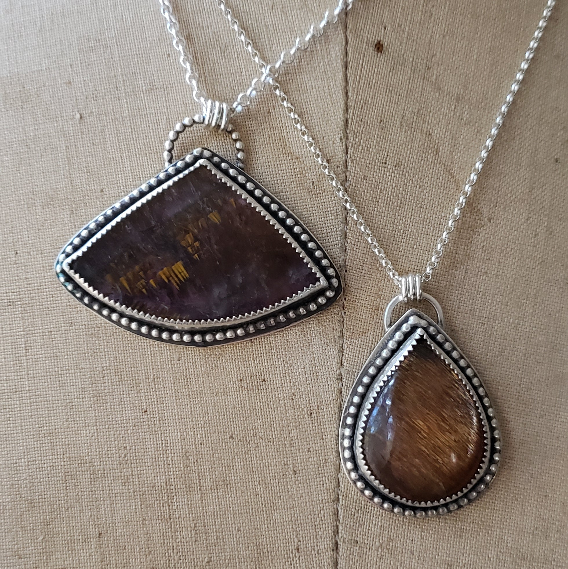 Sunstone & Super Seven Pendants in Sterling Silver - Verdilune