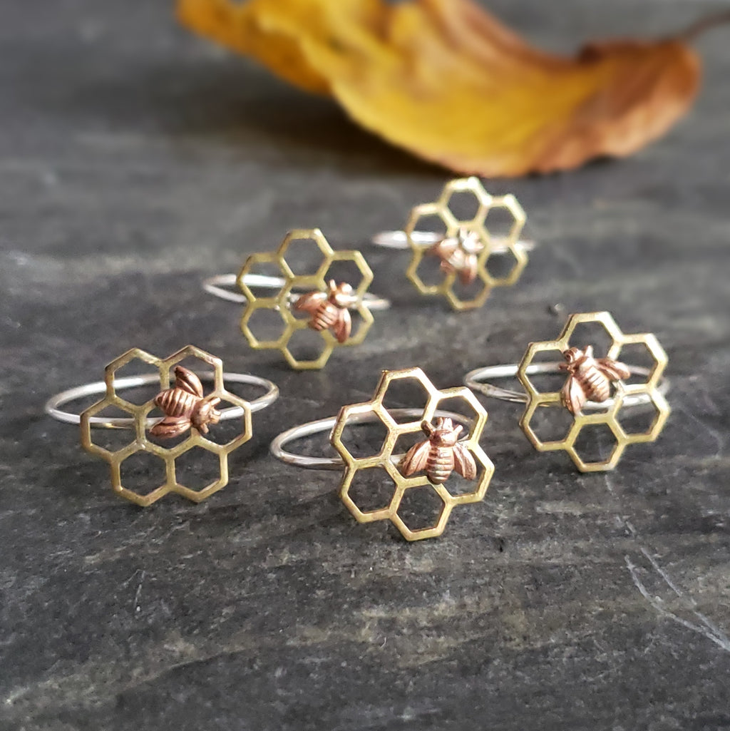 Brass Honeycomb Ring with Bee