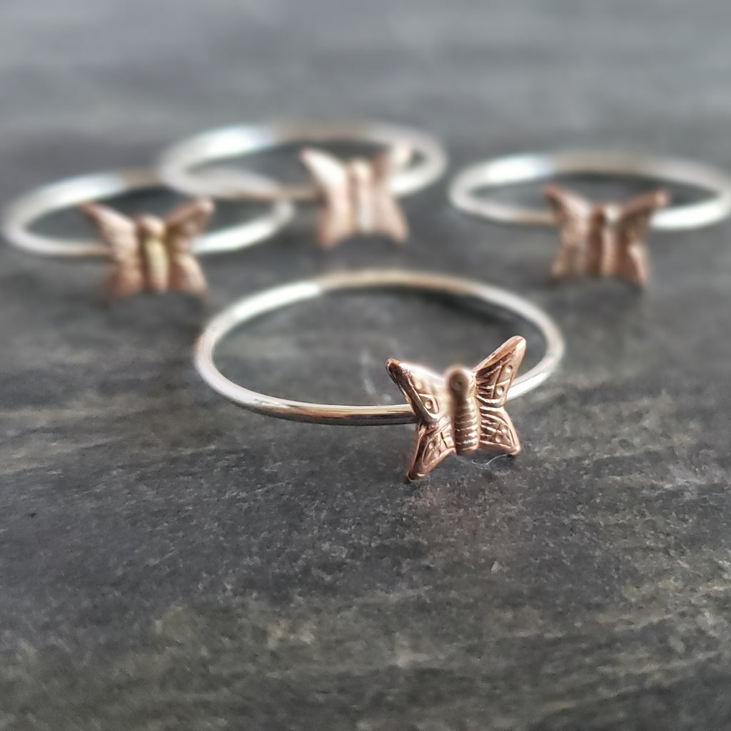 Silver Stacking Ring with Copper Butterfly - Verdilune
