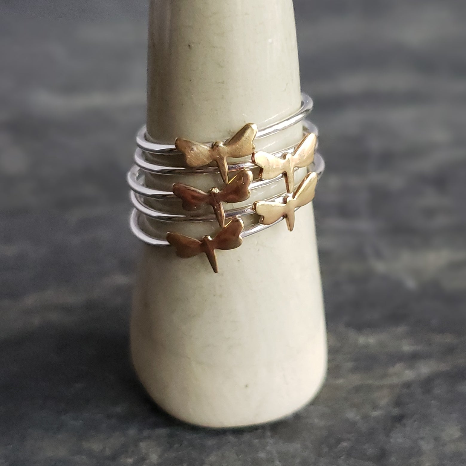 Silver Stacking Ring with Copper Dragonfly - Verdilune