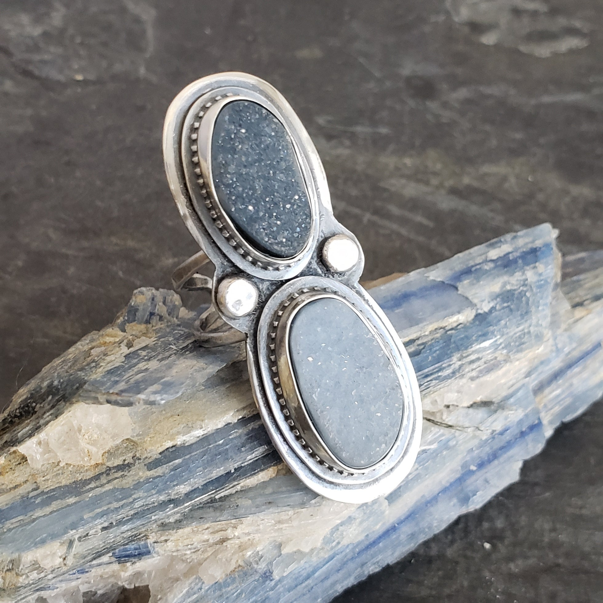 Moonshine on Snow Druzy Ring in Sterling Silver - Adjustable from Sizes 4 to 7