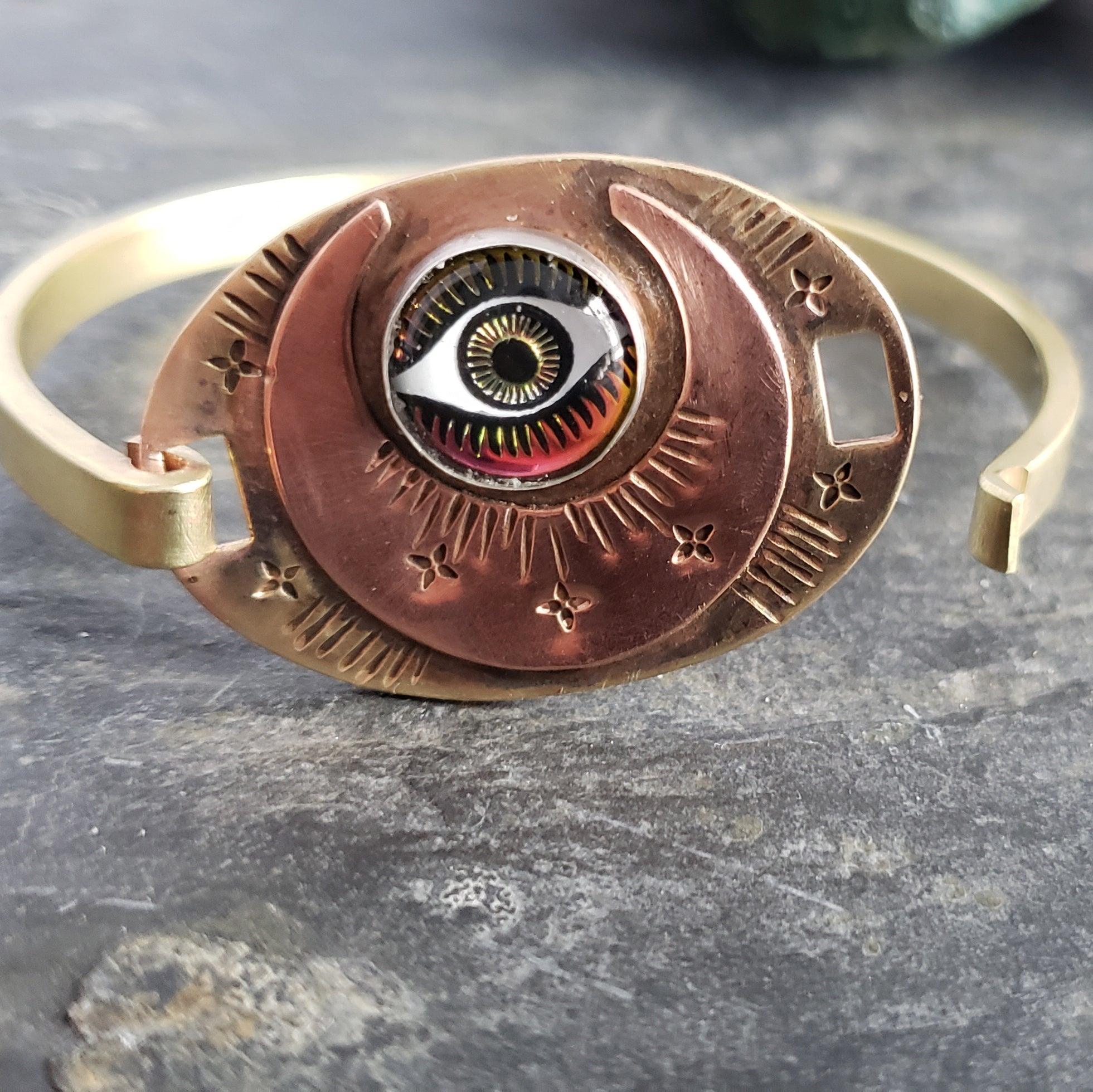 All Seeing Eye Moon Cuff Bracelet