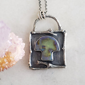 Curio Monarch Opal Mushroom Pendant in Sterling Silver