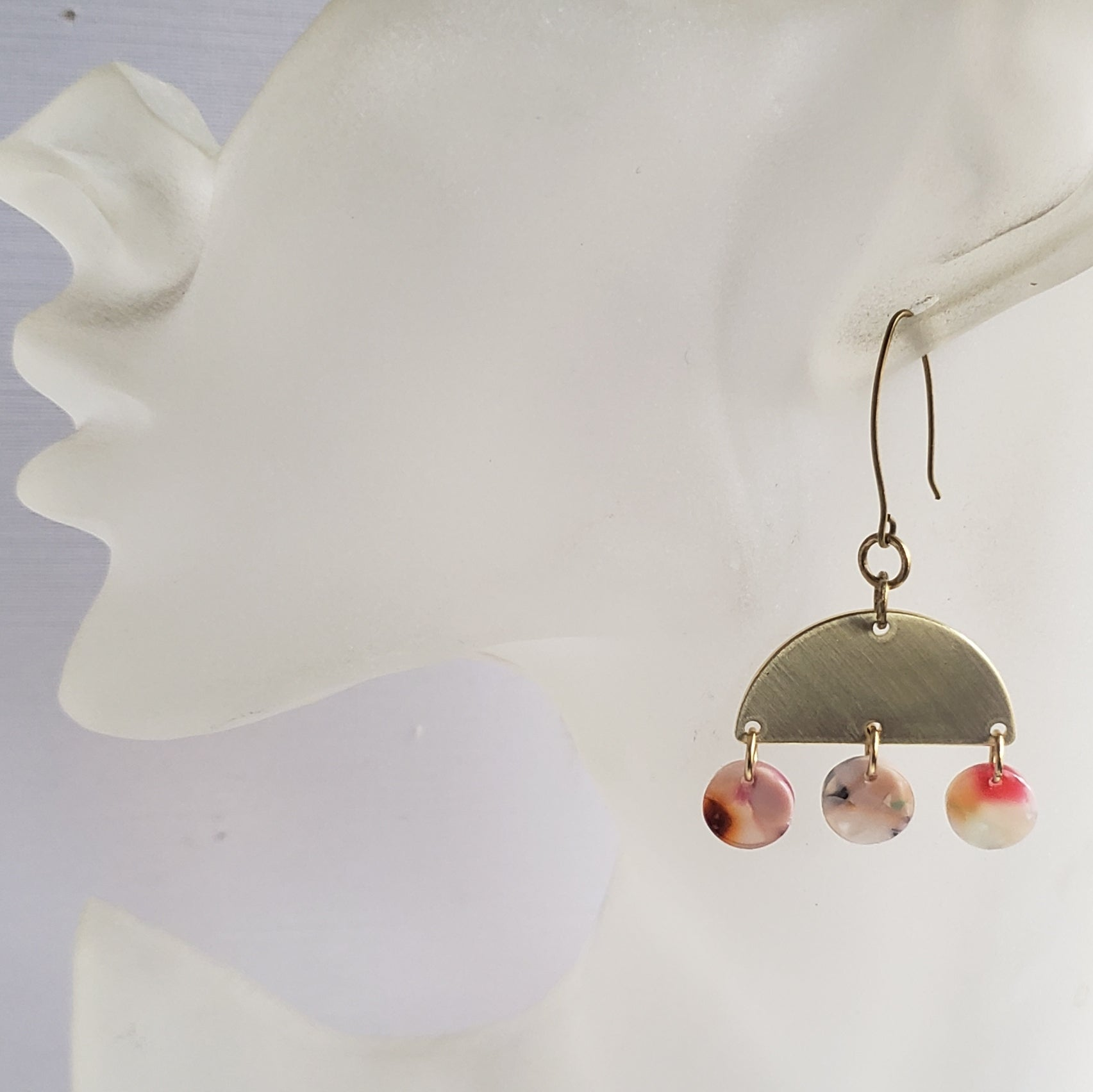 Tortoise Shell Geometric Lucite & Brass Earrings