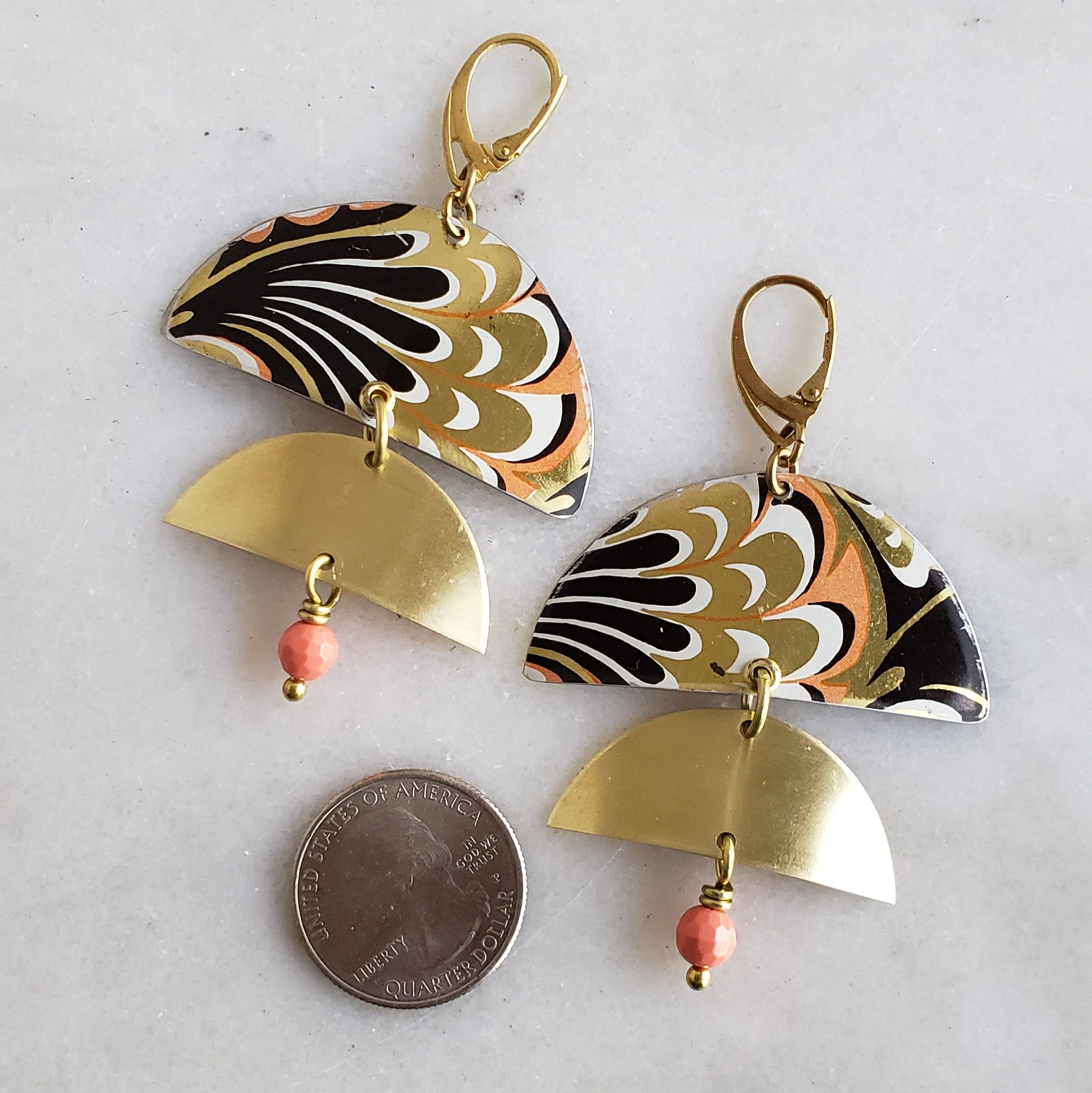 Art Nouveau Meets Modern Brass Repurposed Vintage Tin Earrings