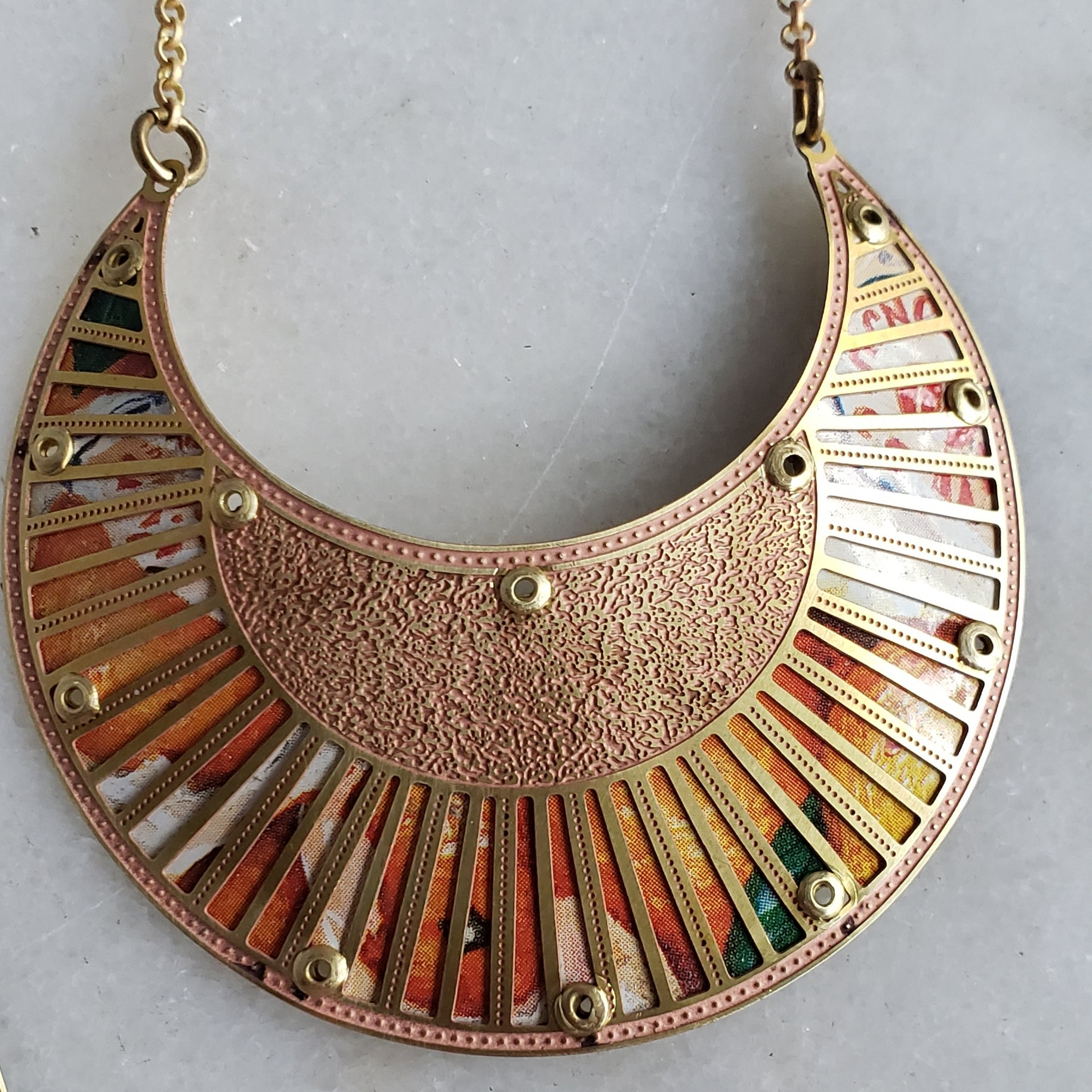 Fruity Riveted Peekaboo Crescent Vintage Tin Necklace