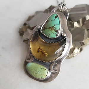 Turquoise & Amber Crescent Boho Pendant in Sterling Silver