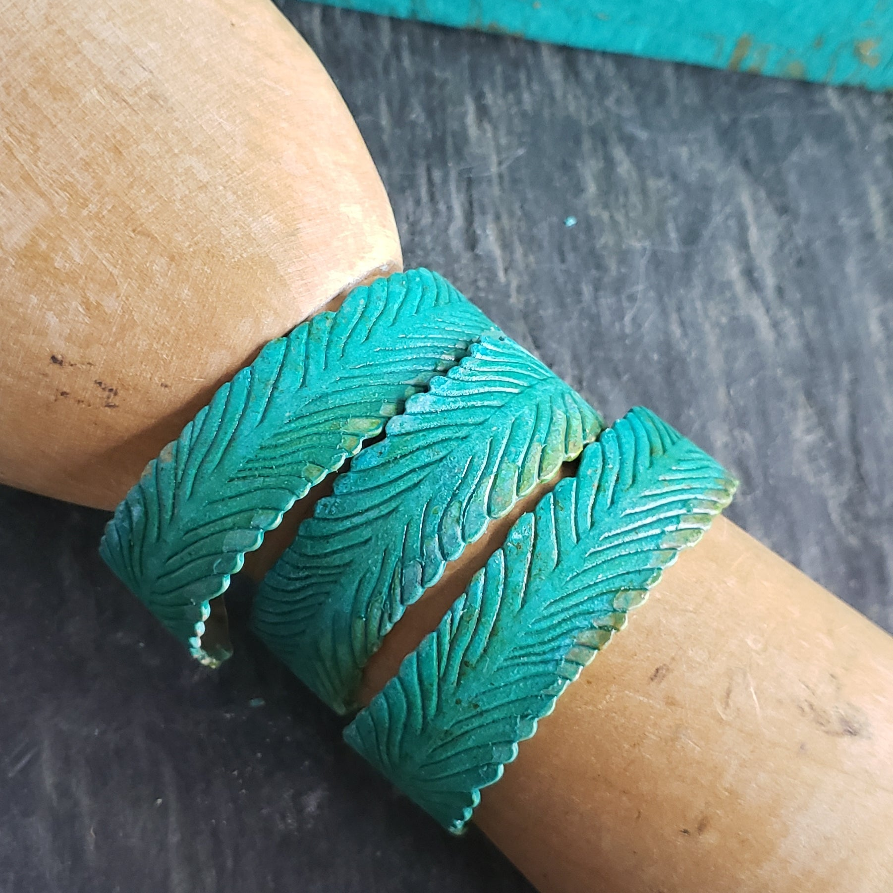 Verdigris Brass Feather Cuff Bracelet