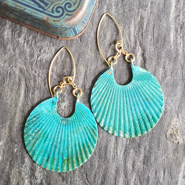 Verdigris Patina Corrugated Dangle Earrings