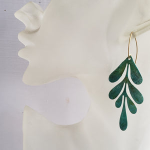 Verdigris Patina Willow Leaf Earrings