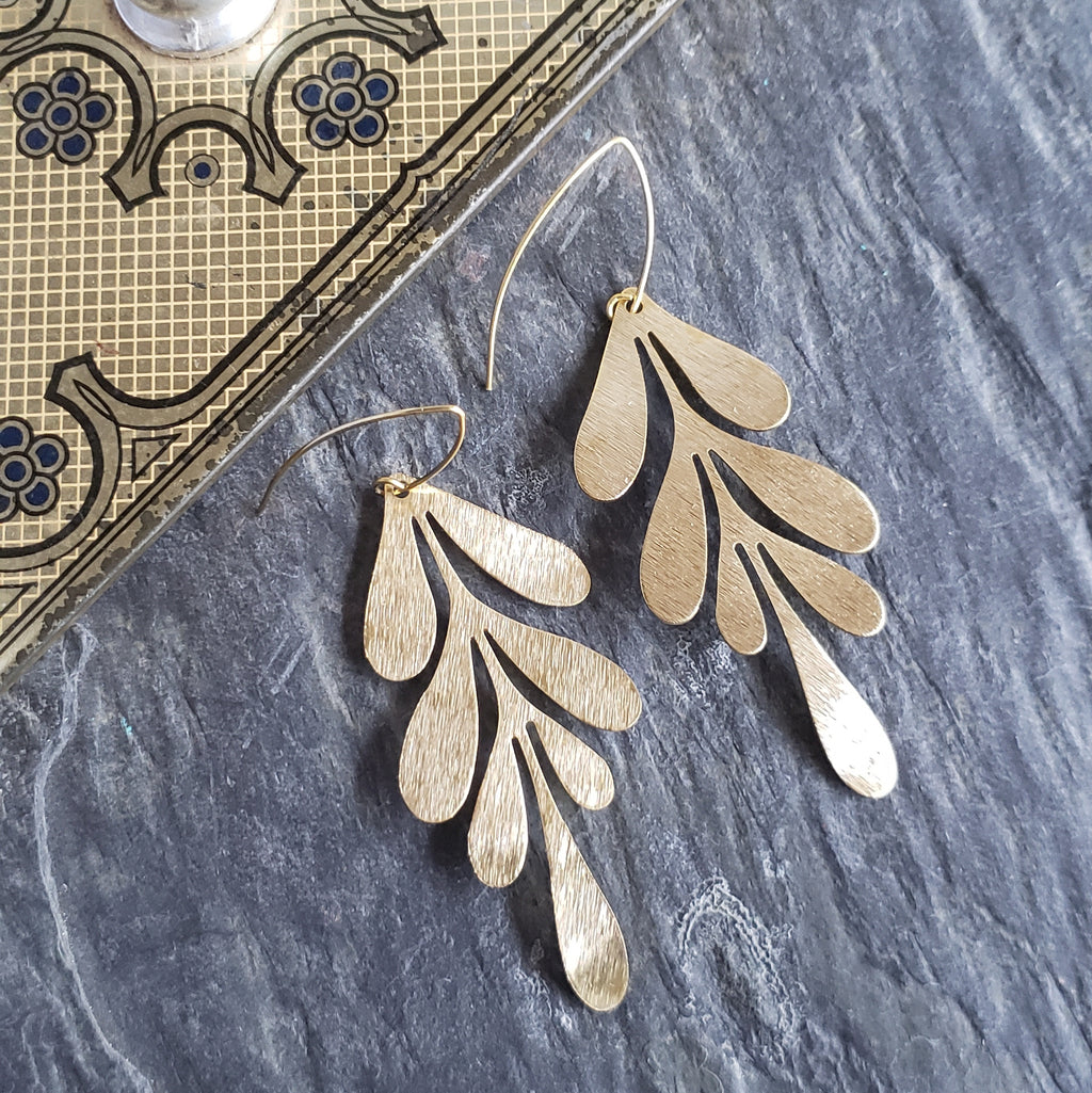 Gold Brass Willow Leaf Earrings