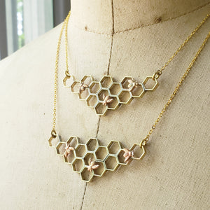 Gold Brass Honeycomb Necklace with Honeybee