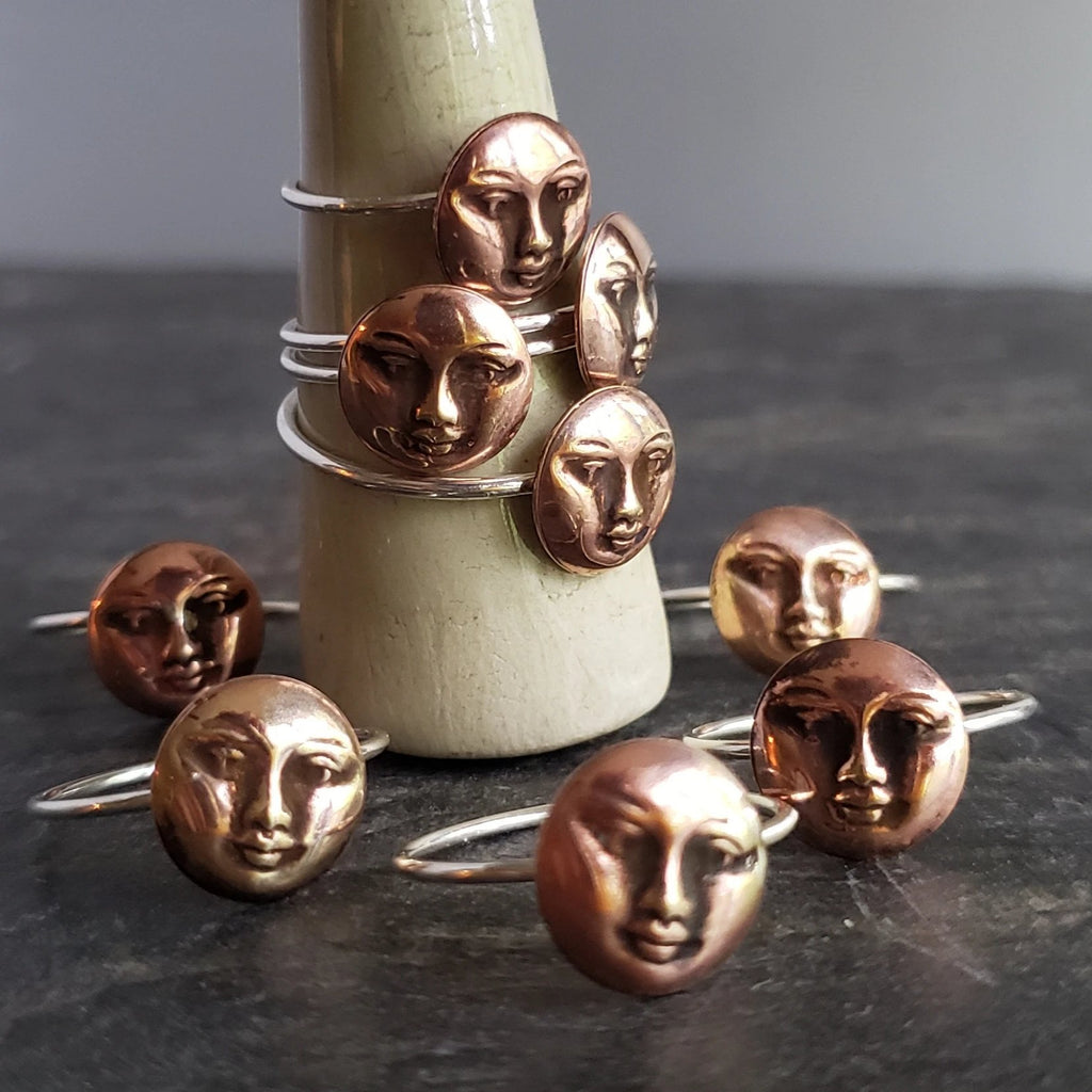 Moon Face Copper & Sterling Silver Ring