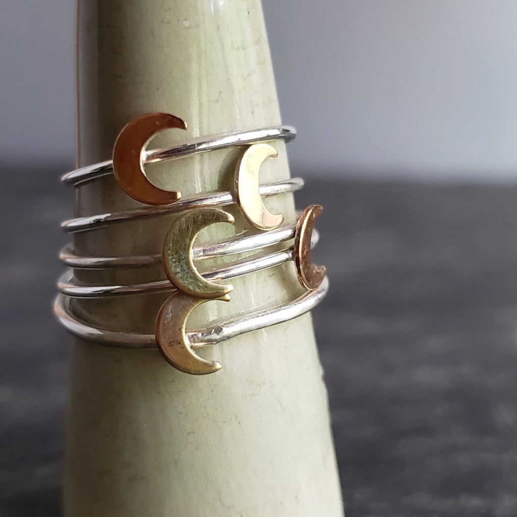 Tiny Crescent Moon Copper & Sterling Silver Ring