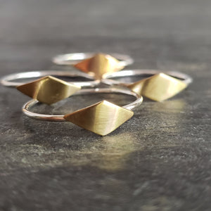 Diamond Shape Copper & Sterling Silver Ring