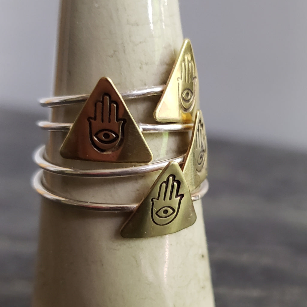 Hamsa Hand Triangle Copper & Sterling Silver Ring