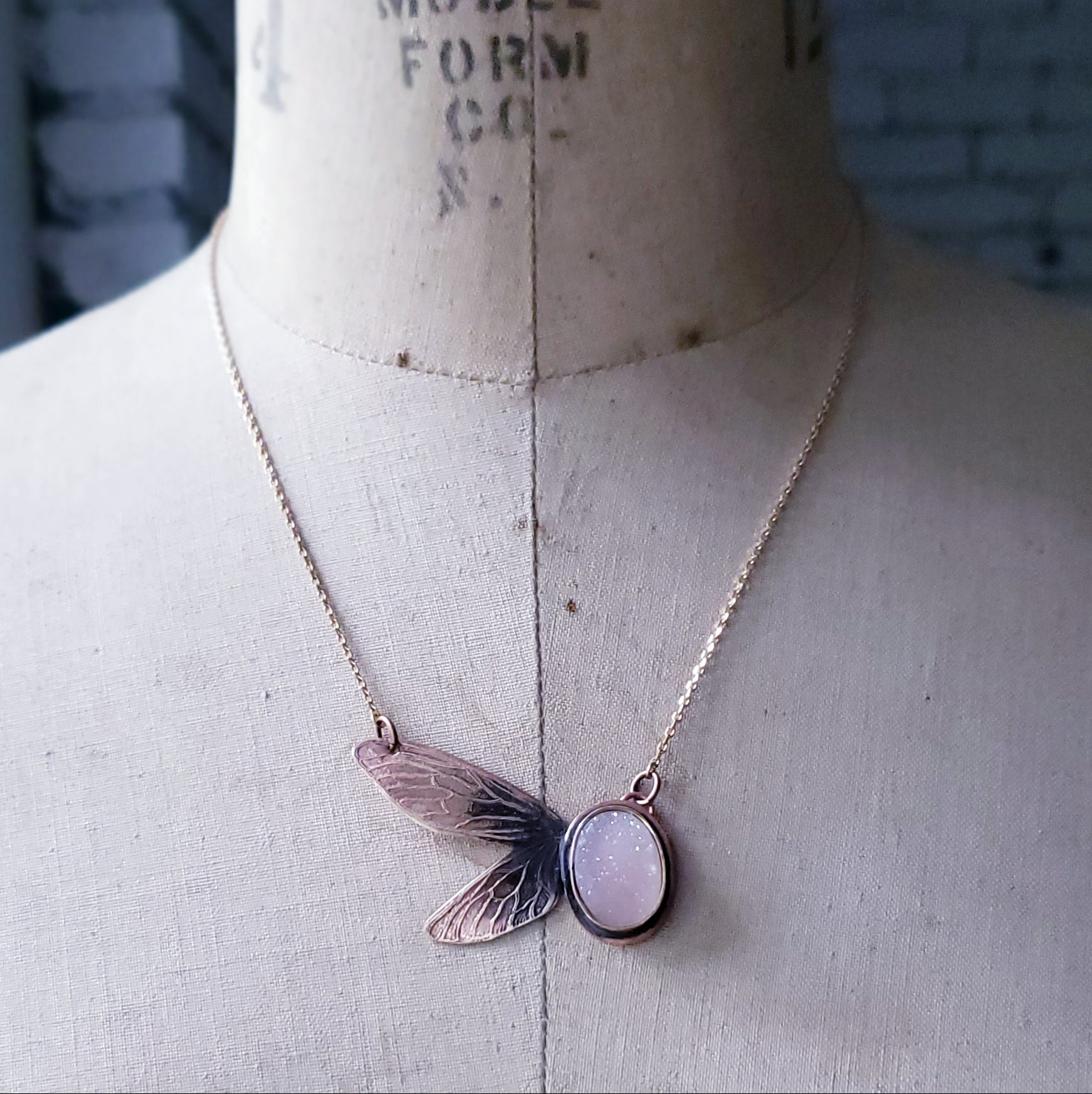 Dragonfly Wings Etched Copper Necklace with Sparkly Druzy