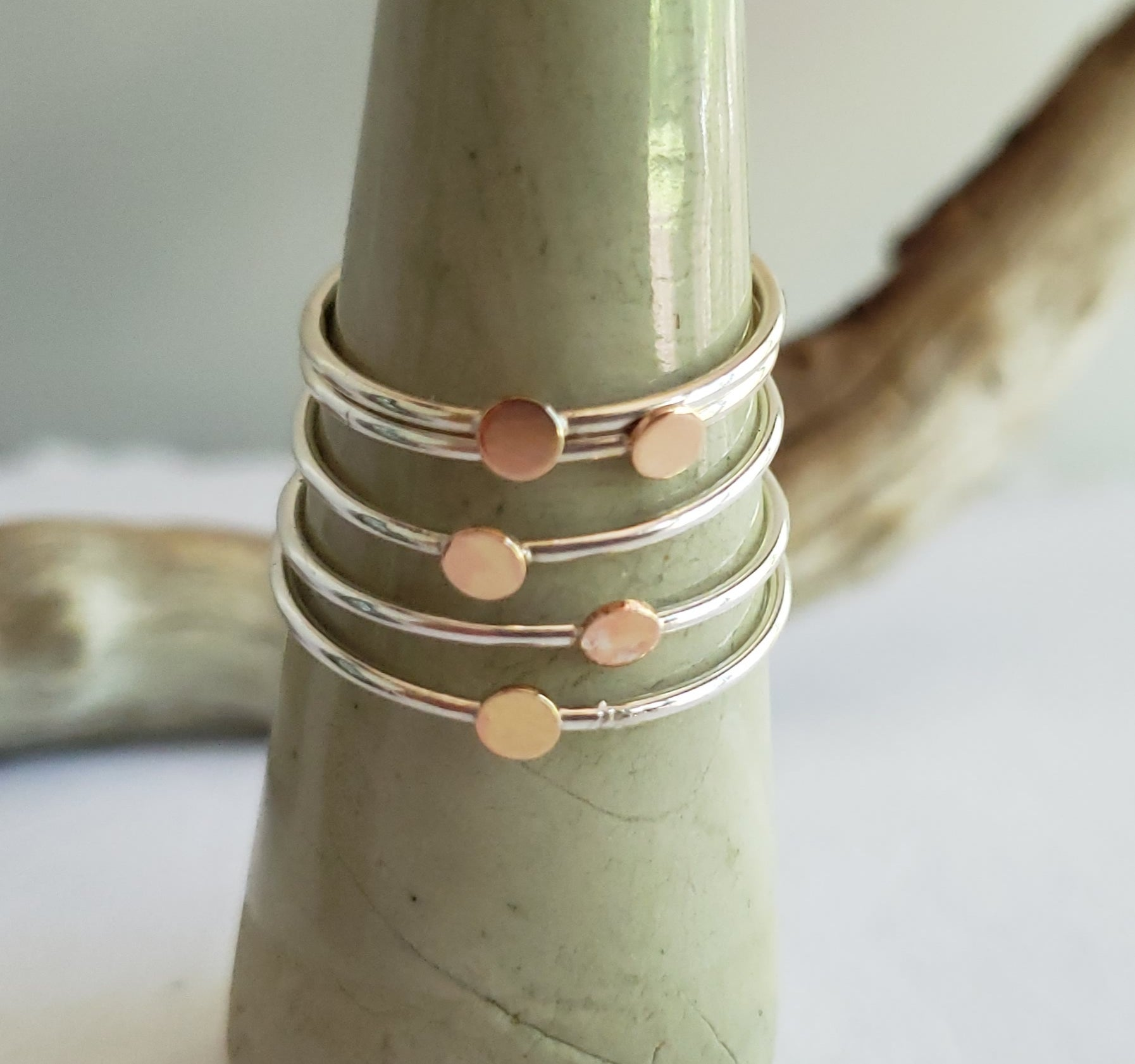 Tiny Dot Copper & Sterling Silver Ring