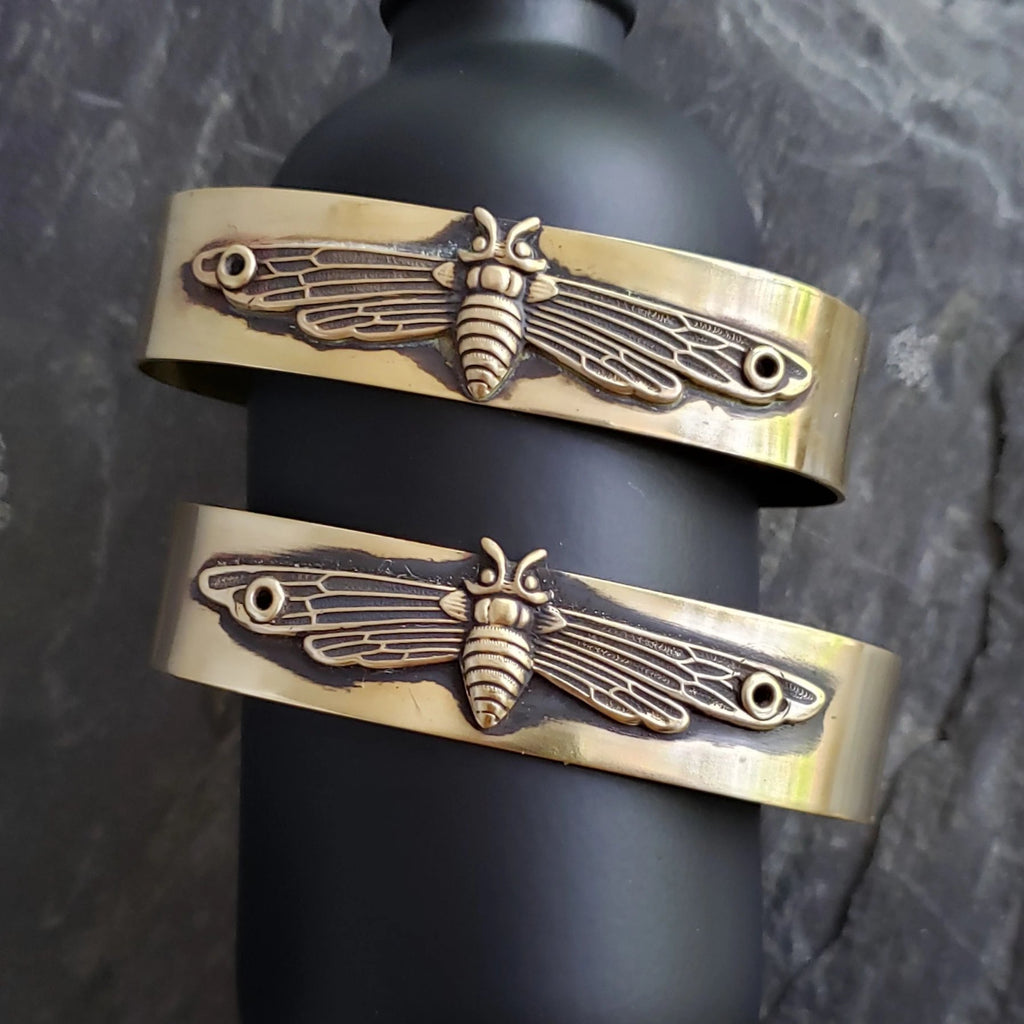 Mothra Riveted Brass Cuff Bracelet