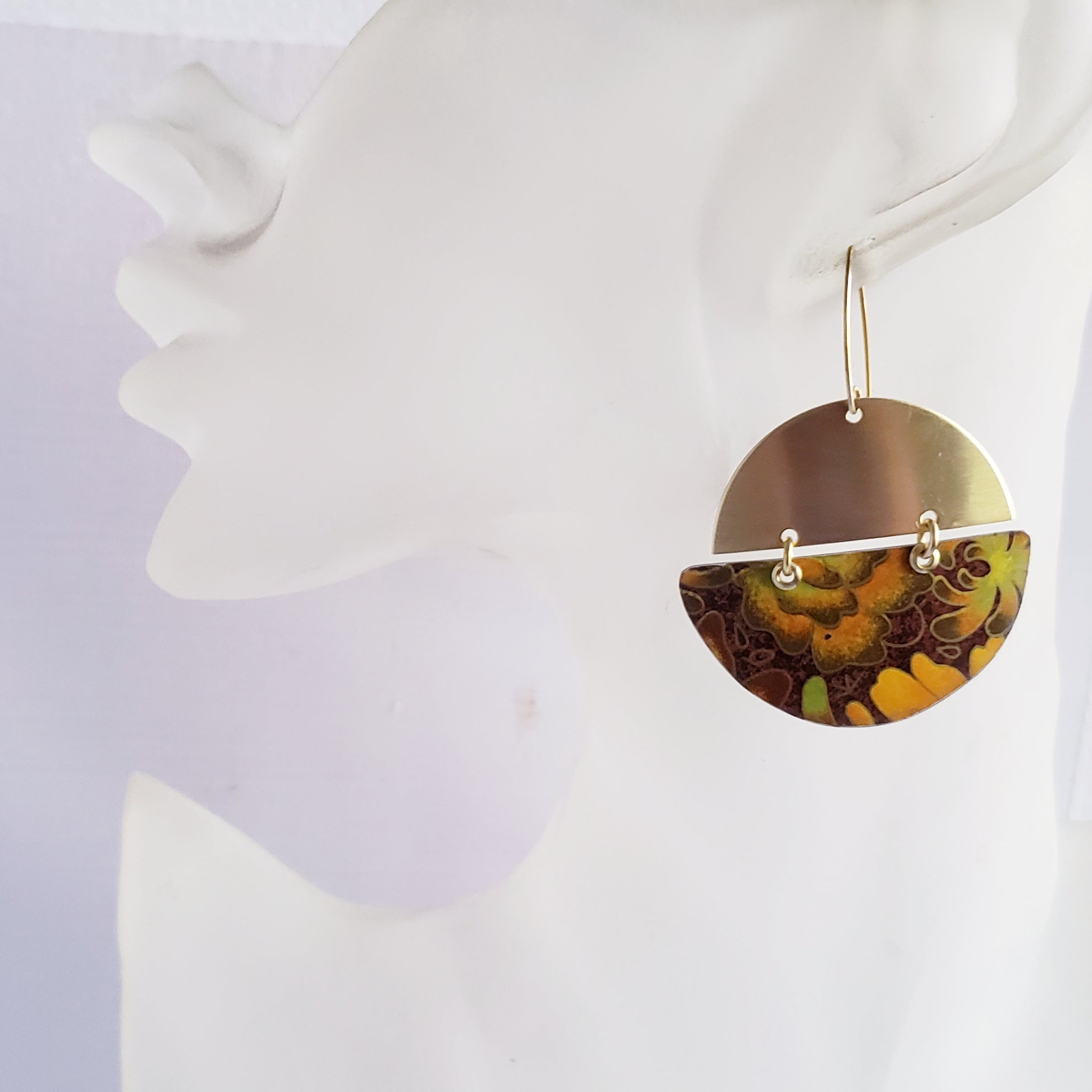 Fall Hues Collection - Repurposed Vintage Tin Earrings & Necklaces