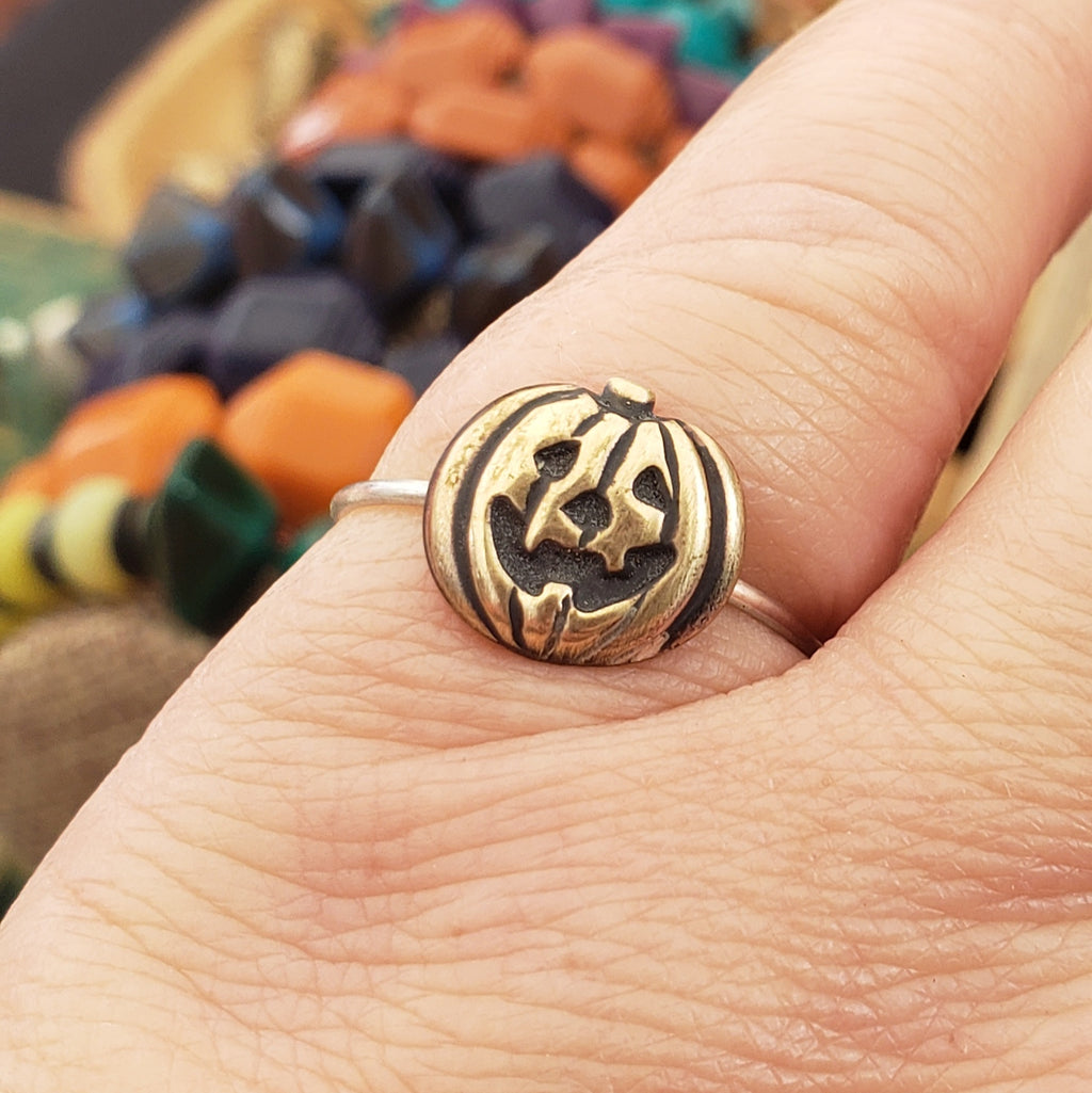 Jack O' Lantern Brass & Sterling Stacking Ring