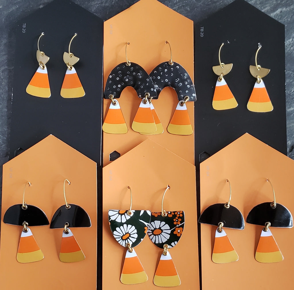 Candy Corn Halloween Collection - Repurposed Tin Earrings