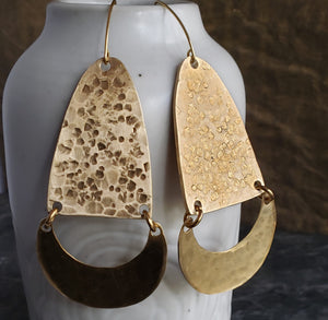 Bold Boho Hammered Brass Crescent Earrings