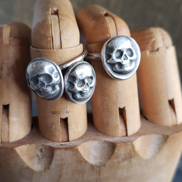 Skull Signet Ring in Solid Sterling Silver