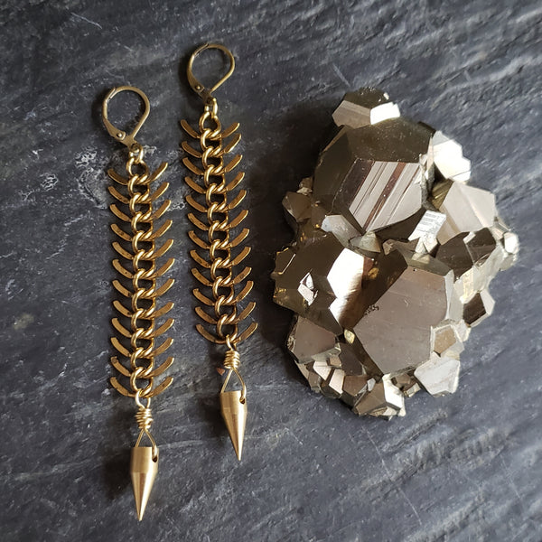 Brass Spike Pendulum Earrings