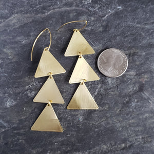 Triangle Stack Brushed Brass Earrings