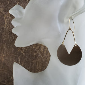 Bold Brushed Brass Earrings (Smaller Size)