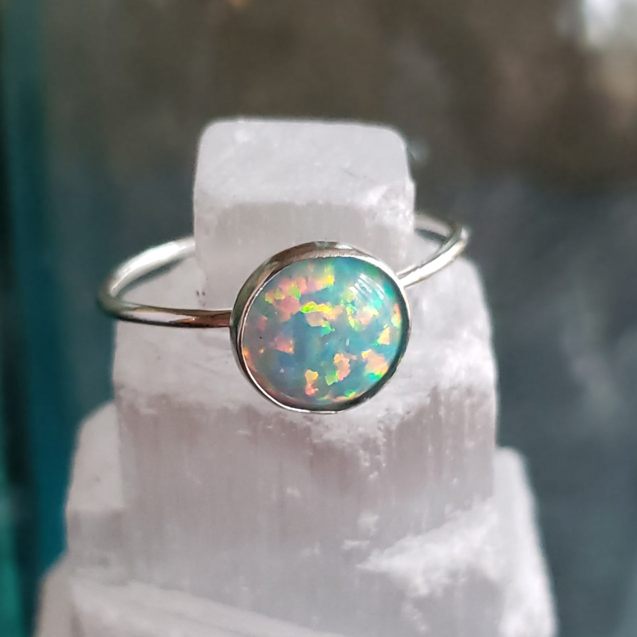 Aura Opal Sterling Silver Stacking Ring