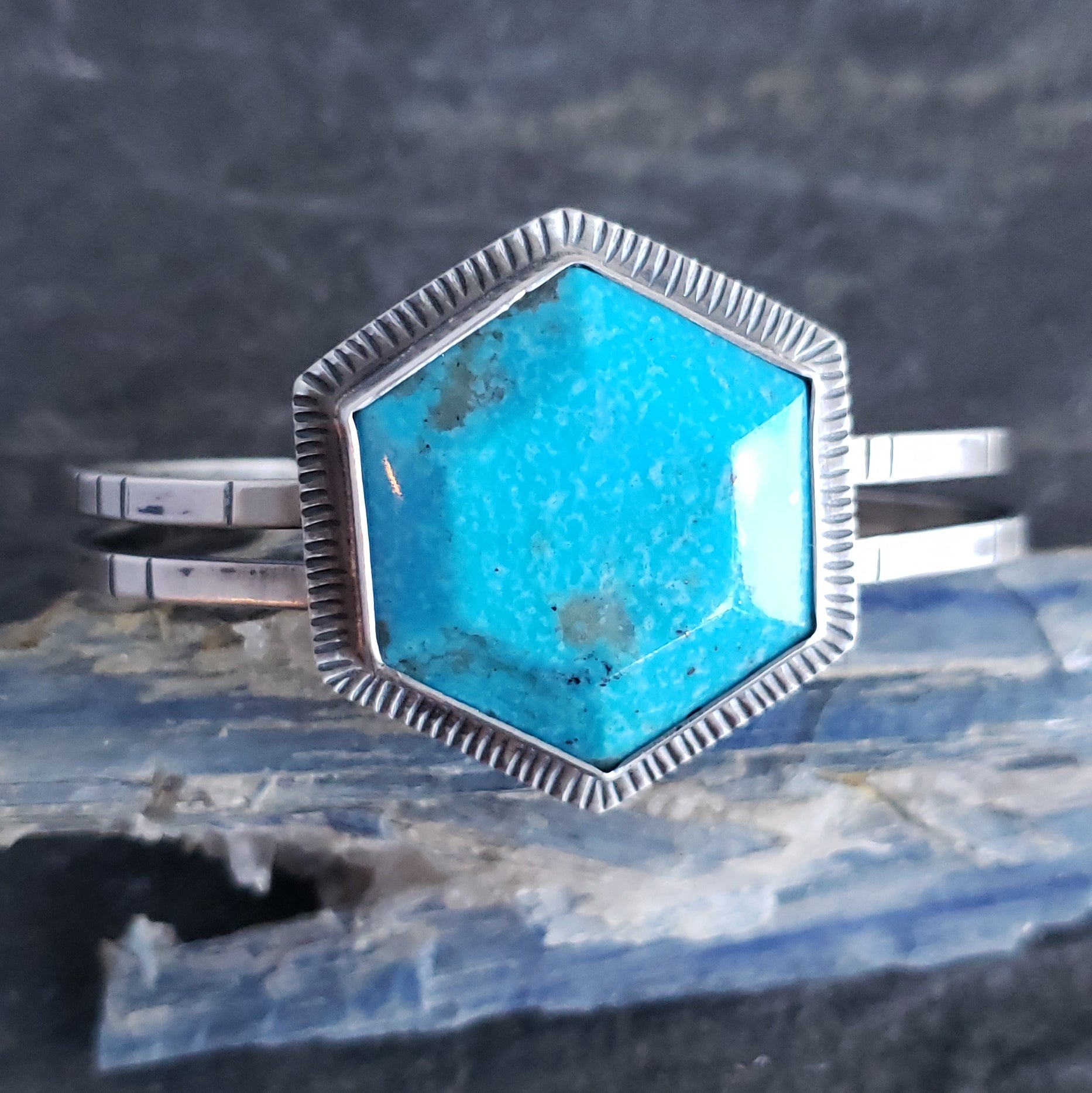 Turquoise Hexagon Cuff in Sterling Silver