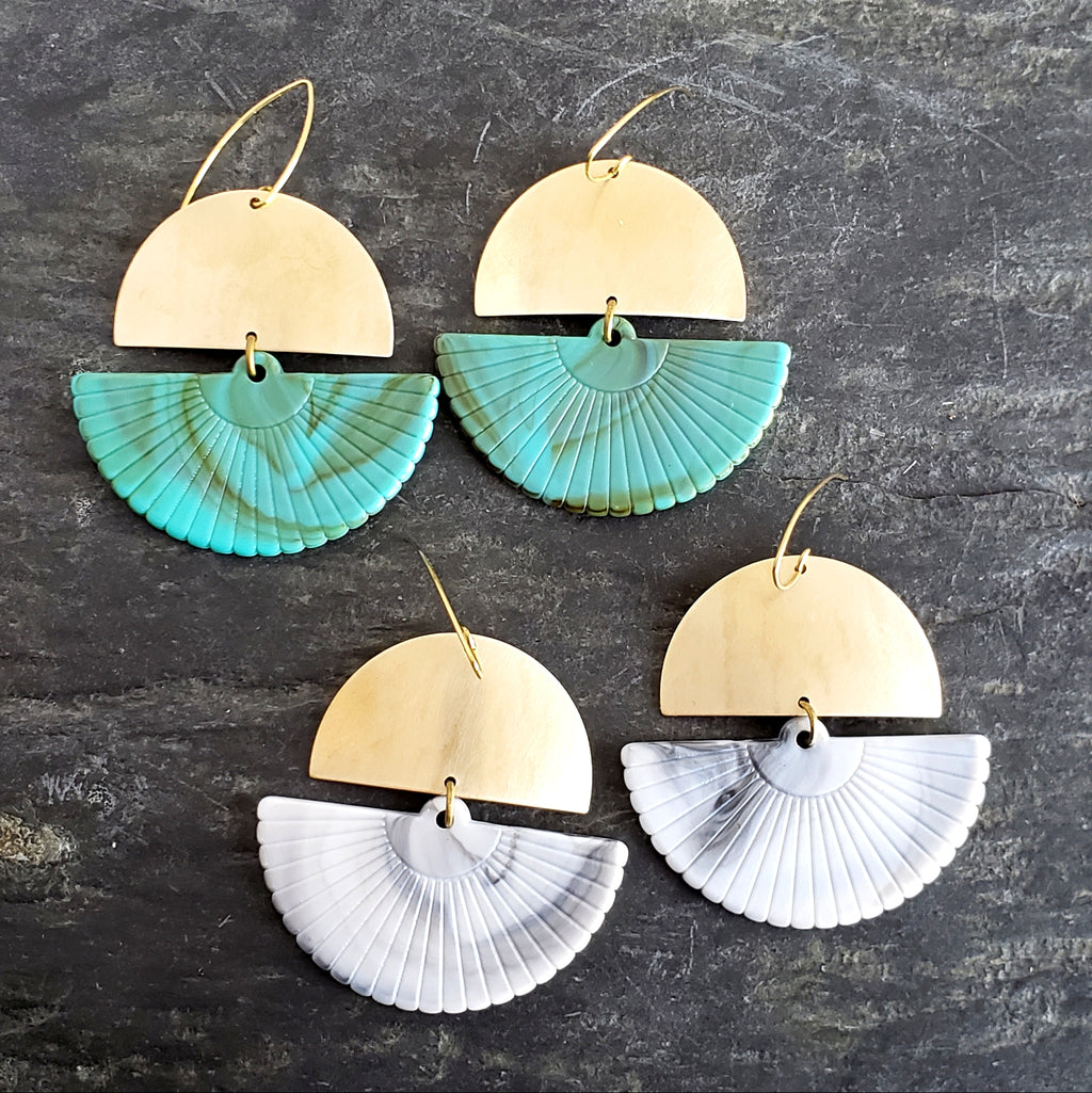 Lucite Fans Boho Brass Swing Earrings