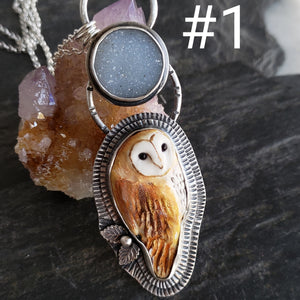 Moonlit Barn Owl in Sterling Silver with Quartz Druzy