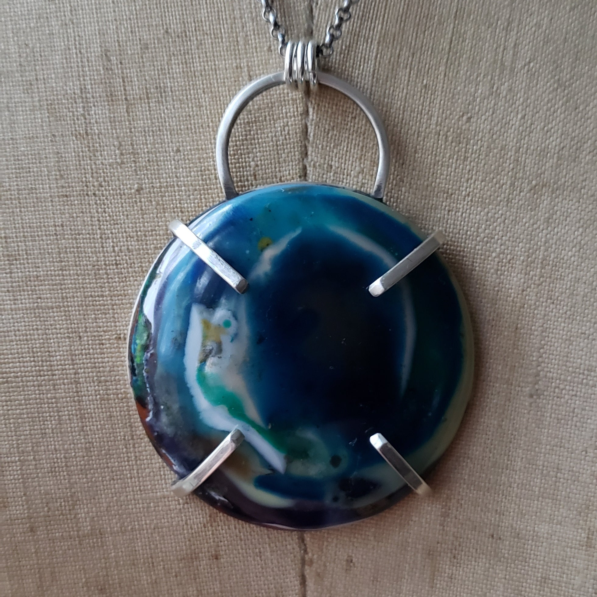 Colorful Jumbo Surfite Pendant in Sterling Silver