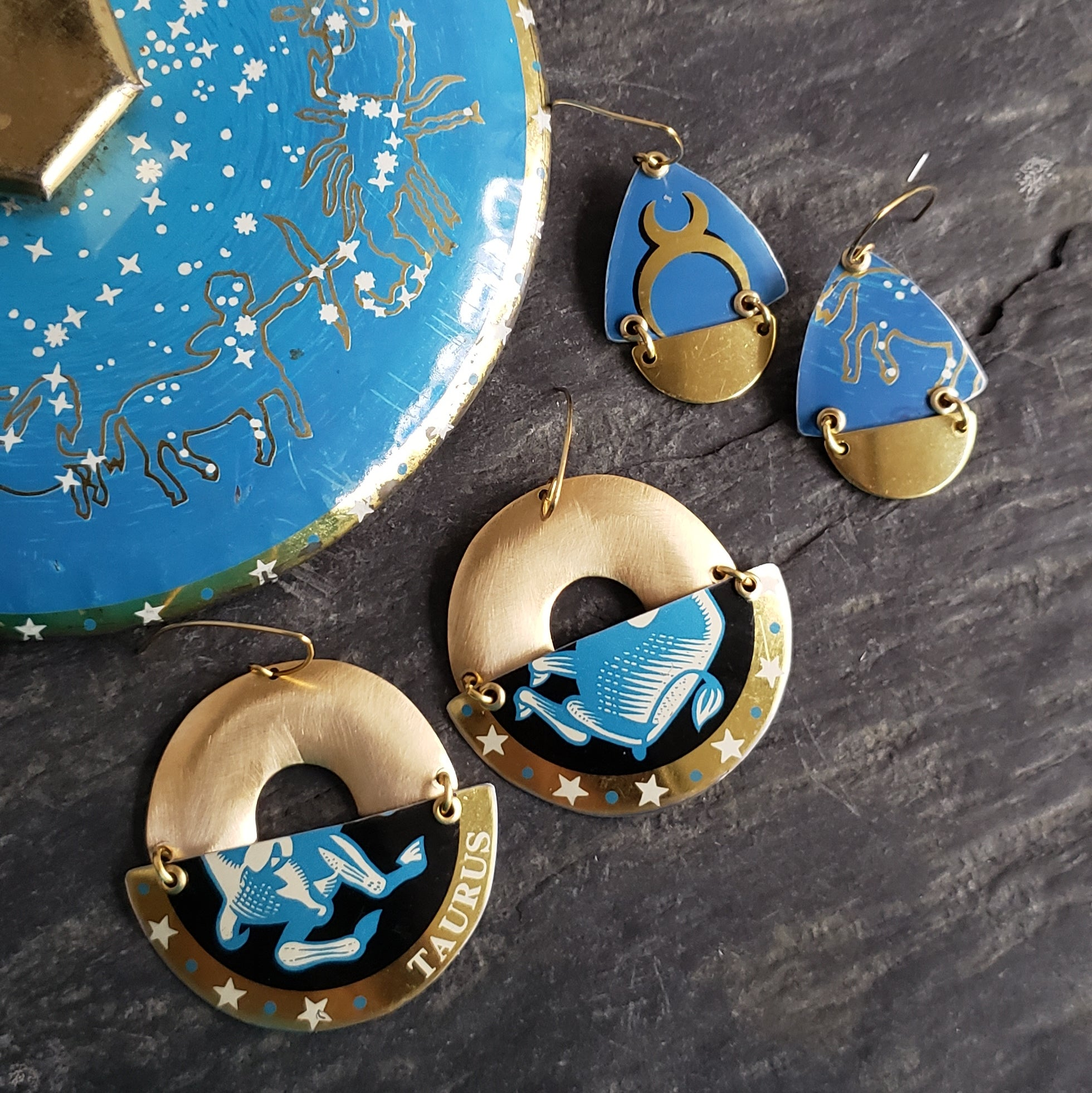 Astrology Collection - Repurposed Vintage Tin Earrings