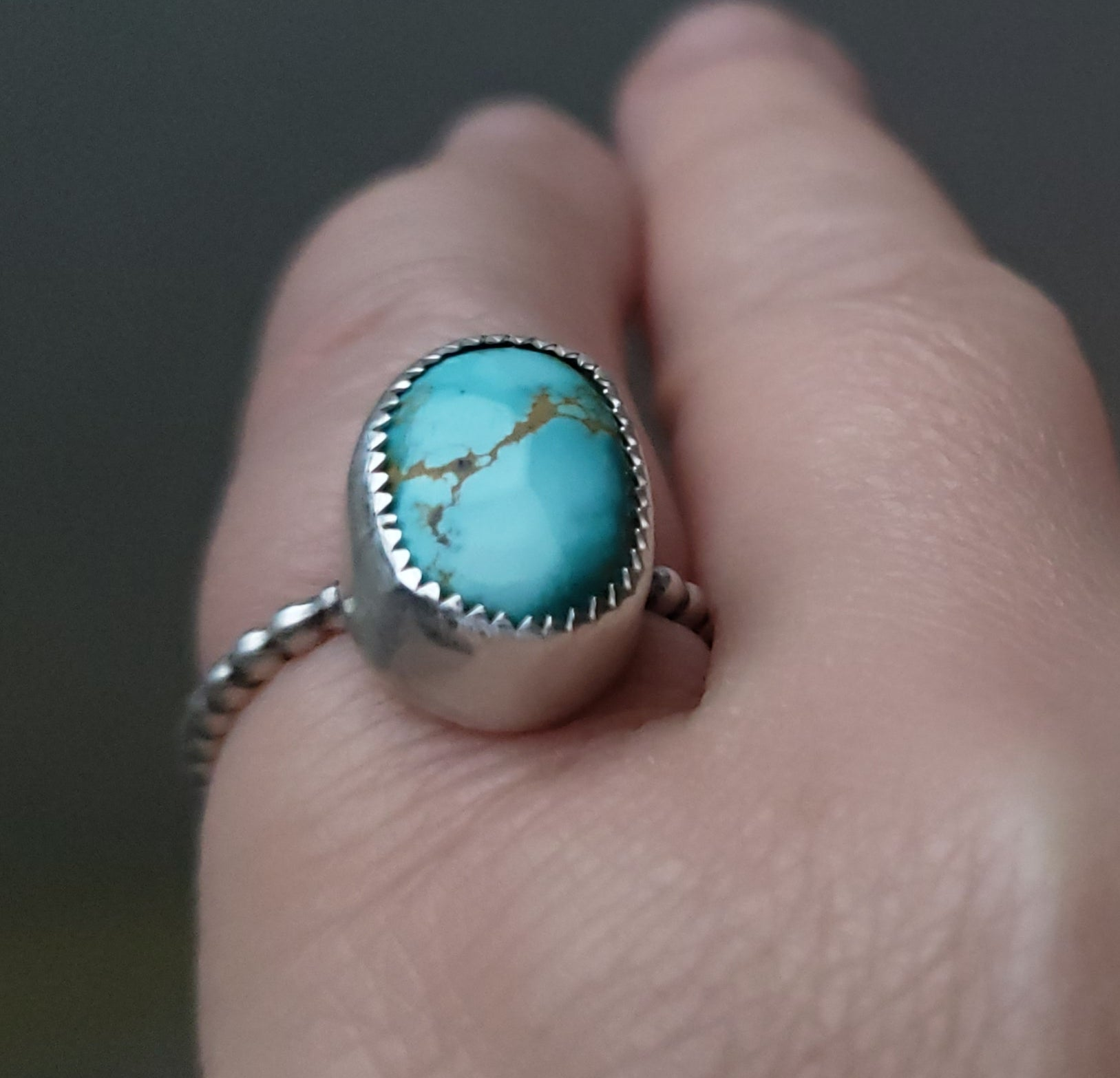 Turquoise Nugget Ring in Sterling Silver Size 7