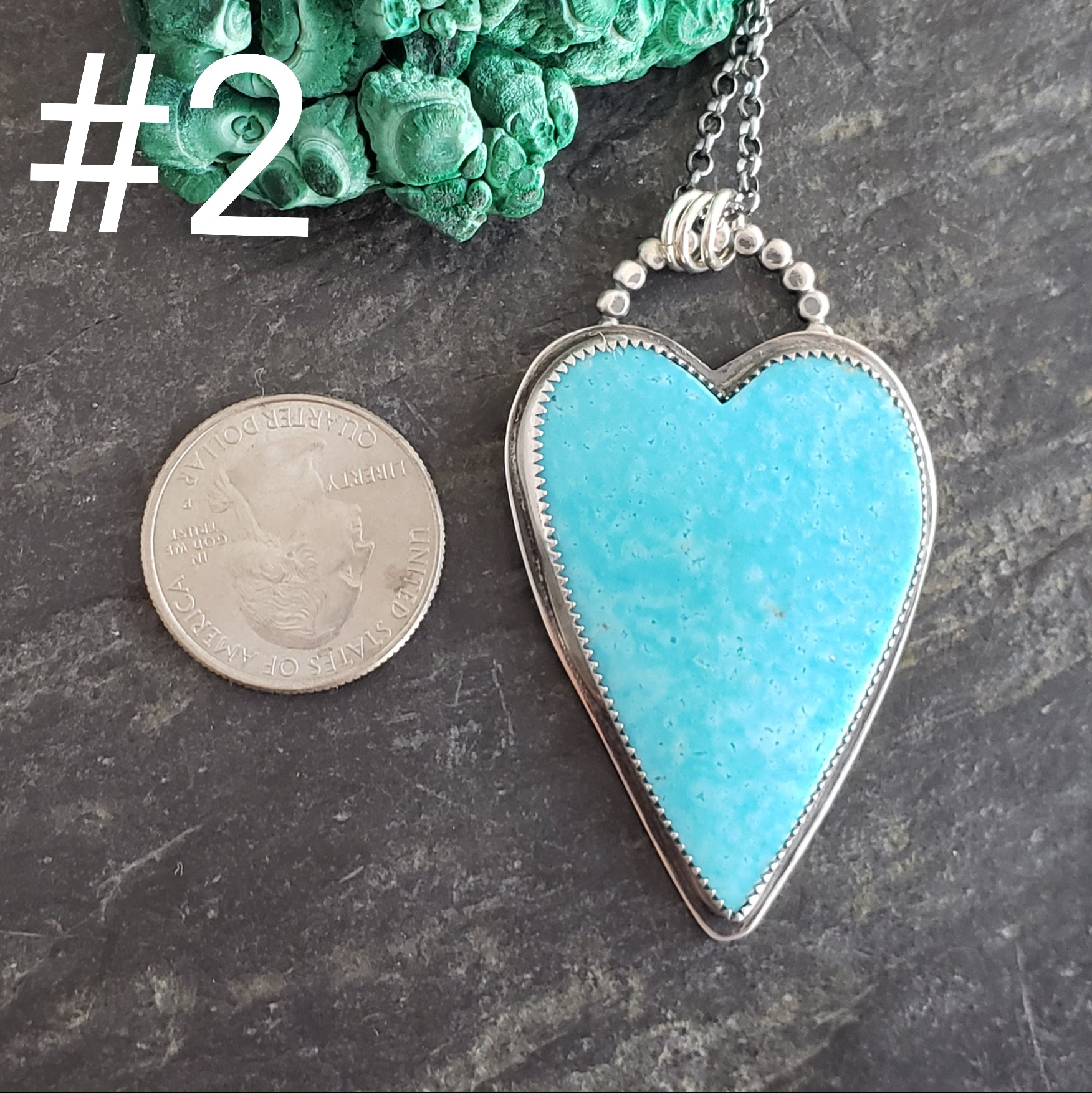 Turquoise Heart Pendants in Sterling Silver