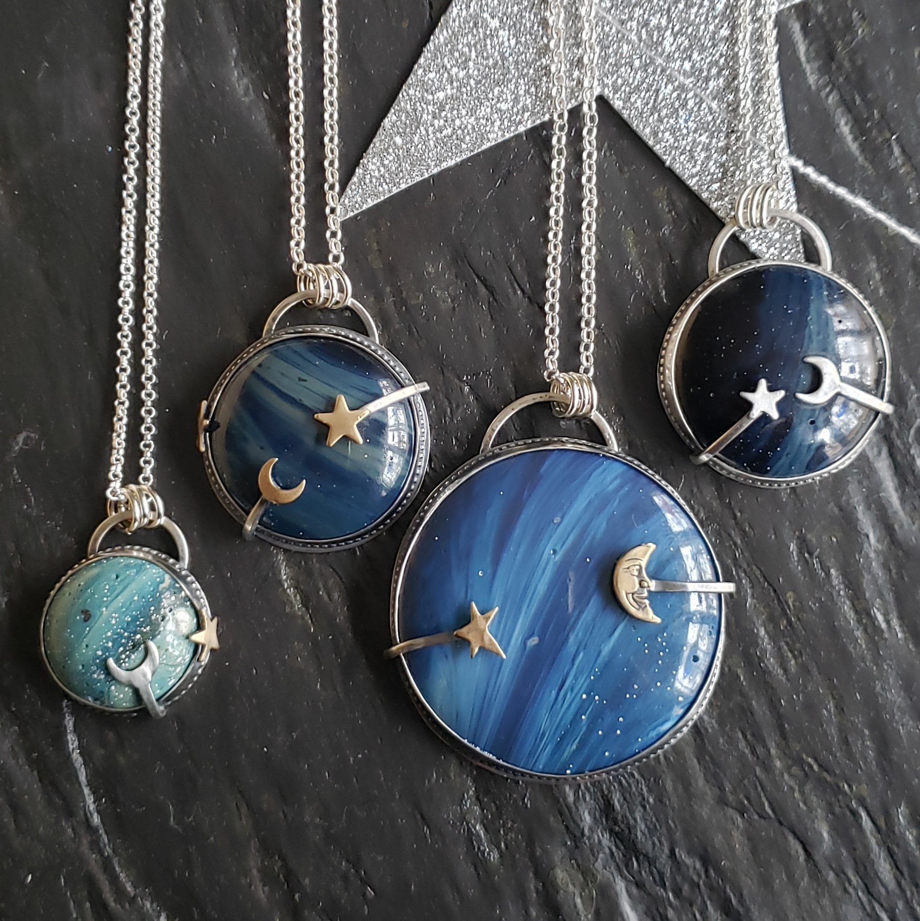 Celestial Energy Leland Blue Pendants in Sterling Silver