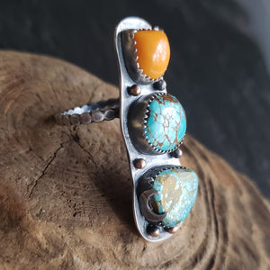 Turquoise Totem Ring with Orange Rosarita in Sterling Silver Size 8.25